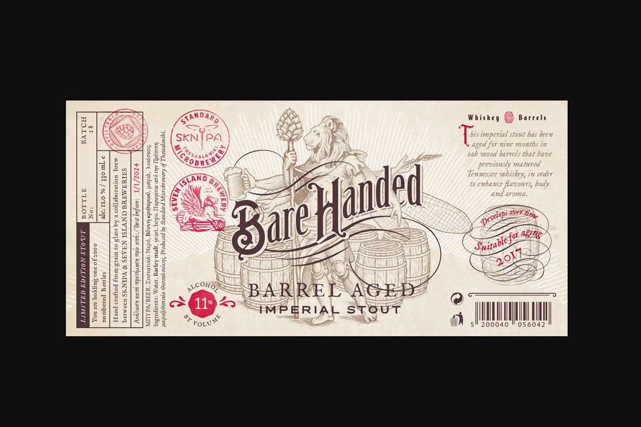 Barehanded barrel aged imperial stout